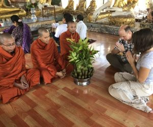 myanmar Blessing Ceremony - Blessed by three monks (1)