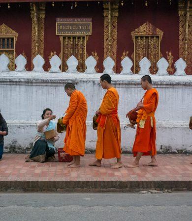 Luang Prabang Laos LAO monks alms-X3
